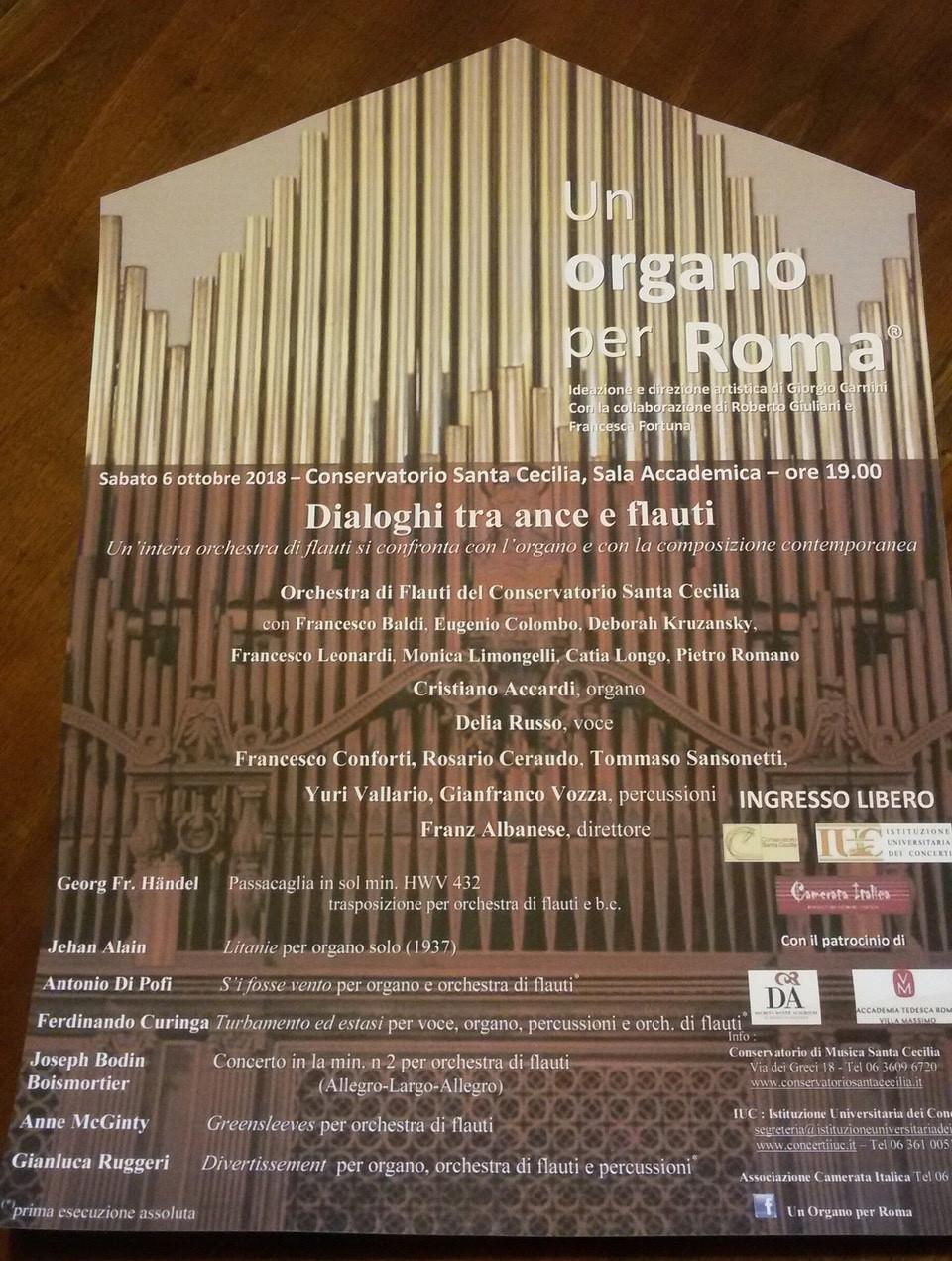 Un Organo per Roma 2018 locandina 6 ottobre